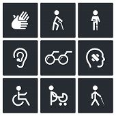 picture of lame  - Disability icon collection on a black background - JPG