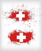 Grunge  Ink Splattered Flag Of Switzerland Vectors
