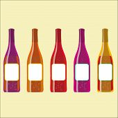 set of vector colorful wine bottles with sparkles