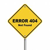 stock photo of not found  - 3d illustration of error 404 not found road sign isolated on the white background - JPG