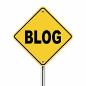 3D Illustration Of Yellow Roadsign Of Blog