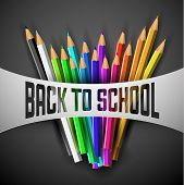 Vector Back to school poster - colorful crayons on dark paper