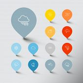 Vector Minimalistic weather thin line flat pointer icon set