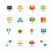 stock photo of mainframe  - Hosting computer network flat icons set with file dashboard infrastructure elements isolated vector illustration - JPG