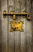 Old golden latch on a wooden door