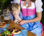 Bavarian Boy With Mother