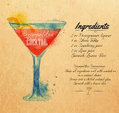 Cosmopolitan cocktails watercolor kraft