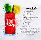 Bloody mary cocktails watercolor