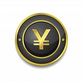 Yen Currency Sign Circular Vector Golden Black Web Icon Button