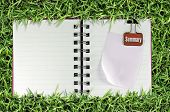 blank page of note book on grass and Binder Clip