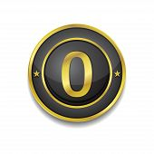 0 Number Circular Vector Golden Black Web Icon Button