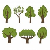 Set of Different Green Trees Cartoon Style. Vector