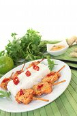 pic of sate  - Asian sate skewers with rice and peanut sauce