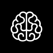 Brain Icon. Vector on Black Background