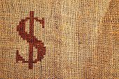Light Natural Burlap Texture With Dollar Symbol