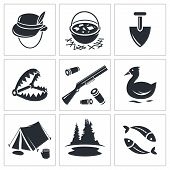 Color hunting and fishing icon collection