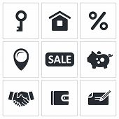 pic of rental agreement  - Real Estate Deal icon collection on a white background - JPG