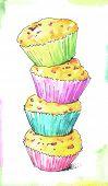 watercolor cupcakes. kitchen illustration.