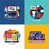 Modern Flat Vector Concepts Of Social Media Marketing. Icons Set For Websites, Mobile Apps