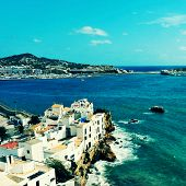 picture of Sa Penya District in Ibiza Town, Balearic Islands, Spain, with a retro effect