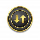 Data Circular Vector Golden Black Web Icon Button