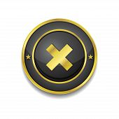 Cross Circular Golden Black Vector Web Button Icon
