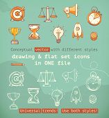 Drawing and flat set icons, conceptual vector with different styles