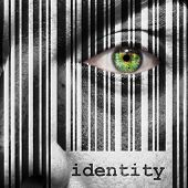 picture of superimpose  - Barcode with the word identity as concept superimposed on a man - JPG