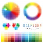 Bright halftone color effects set