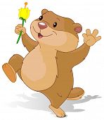 stock photo of groundhog  - Illustration of Groundhog dancing with first flower for Groundhog Day - JPG
