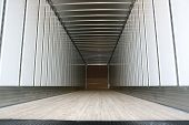 stock photo of semi trailer  - Big trailer container empty ready to be loaded - JPG