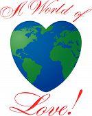 Heart shaped world on white background