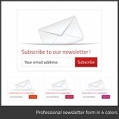stock photo of newsletter  - Light Subscribe to newsletter form with white background and button in 4 warm tones - JPG