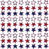 three color stars in rows patriotic pattern on white