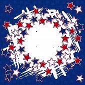 three color stars wreath patriotic background on dark blue