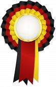 Tricolor rosette with black yellow and red ribbon