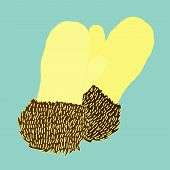 vector warm knitted mittens trimmed with fur