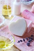 Handmade Glycerin Soaps on a Bath Towel