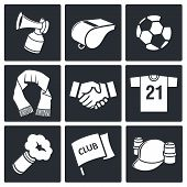 image of hooters  - Attributes Soccer fan icons set on a black background - JPG