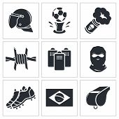 Soccer fans ultras icon collection