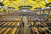 MUNICH, GERMANY - SEPTEMBER 30, 2013: The Paulner Beer Tent on the Theresienwiese Oktoberfest fair g