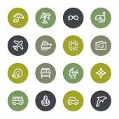 Vacation web icons set, color buttons