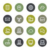 Cloud computing web icons set, color buttons