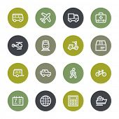 Transport web icons set, color buttons