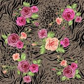 Mixed floral seamless pattern on animal backdrop
