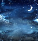 stock photo of moon stars  - Elegant abstract background of night sky with stars and moon - JPG