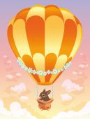 Hot air balloon with brown bunny.