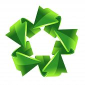 five green recycling arrows