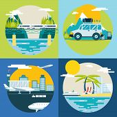Retro Planning Summer Vacation, Tourism and Journey Symbol Travel Ship Plane Car Train Modern Flat D