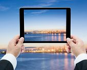 Businessman Hands Tablet Taking Pictures Commercial Docks At Sunset